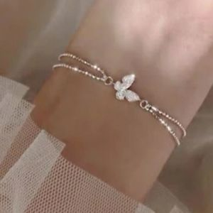 NEW 925 STERLING SILVER PLATED BUTTERLY BRACELET